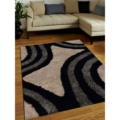 Hand-Tufted Black/Ivory Area Rug Rug Size: 5 x 8