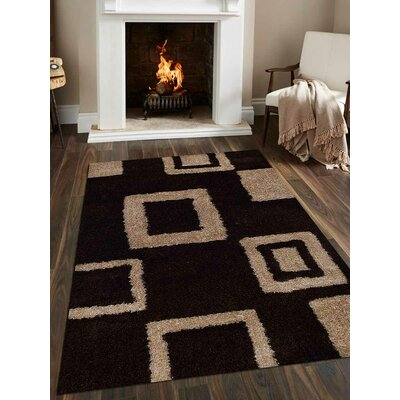 Hand-Tufted Brown/Beige Area Rug Rug Size: 4 x 6