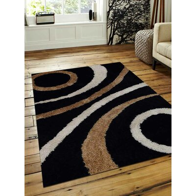 Hand-Tufted Black Area Rug Rug Size: 4 x 6