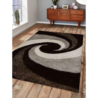 Hand-Tufted Black/Beige Area Rug Rug Size: 4 x 6