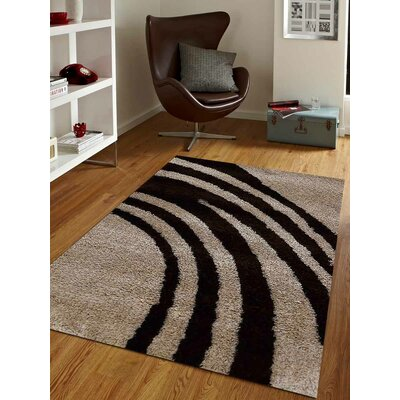 Hand-Tufted Beige/Black Area Rug Rug Size: 5 x 8