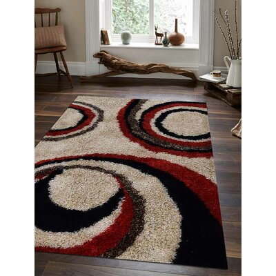 Abrielle Abstract Hand Tufted Ivory/Red Area Rug Rug Size: 9 x 12