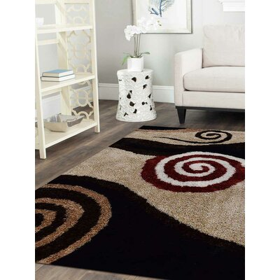 Debi Contemporary Hand Tufted Beige/Black Area Rug Rug Size: 9 x 12