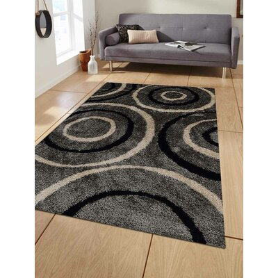 Hand-Tufted Gray/Black Area Rug Rug Size: 4 x 6