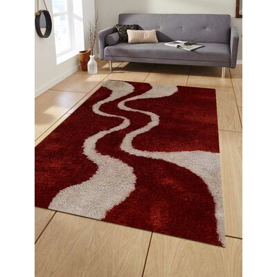 Lisse Abstract Hand-Woven Red/White Area Rug Rug Size: Rectangle�5 x 8