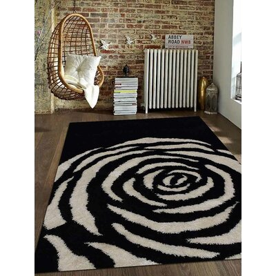 Ry Hand-Woven Black/White Indoor/Outdoor Area Rug Rug Size: Rectangle�6 x 9