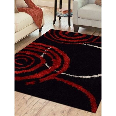 Hand-Tufted Black/Red Area Rug