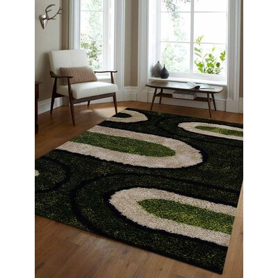 Angeles Shag Hand-Woven Black/Green/Gray Area Rug Rug Size: Rectangle�4 x 6