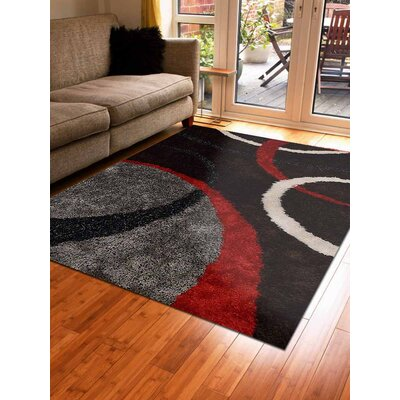 Marigold Abstract Hand-Woven Black/Red Area Rug Rug Size: Rectangle�8 x 10