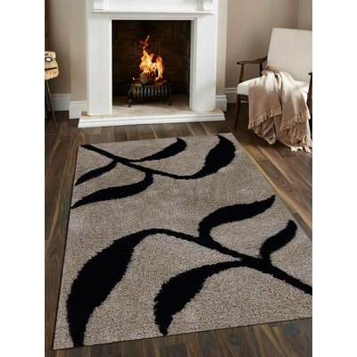Kinderhook Floral Hand Tufted Beige/Black Area Rug Rug Size: 6 x 9