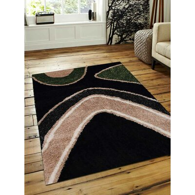 Bishop Shag Hand-Woven Beige/Black/Green Area Rug Rug Size: Rectangle�5 x 8