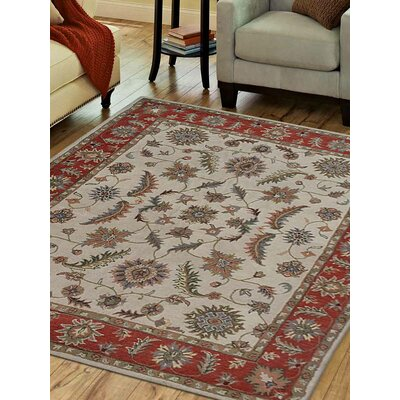 Hand-Tufted Beige/Red Area Rug Rug Size: 5 x 8