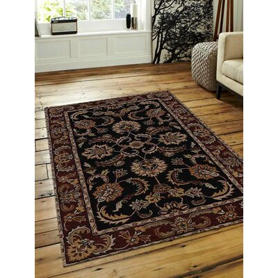 Hand-Tufted Black/Rust Area Rug Rug Size: Round 8