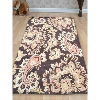 Kinzer Floral Hand-Woven Wool Brown Area Rug Rug Size: Rectangle�10 x 13