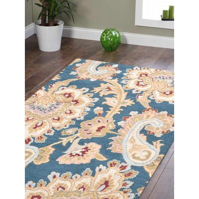 Hand-Tufted Blue Area Rug Rug Size: 8 x 11