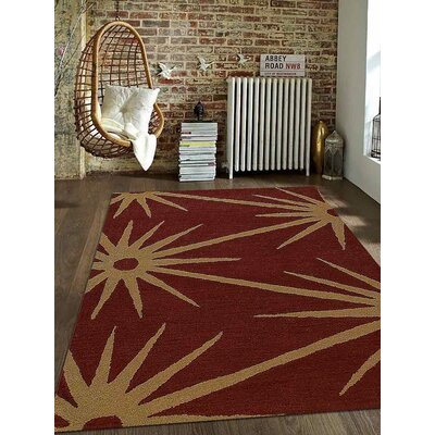 Hand-Tufted Red/Gold Area Rug Rug Size: 5 x 8