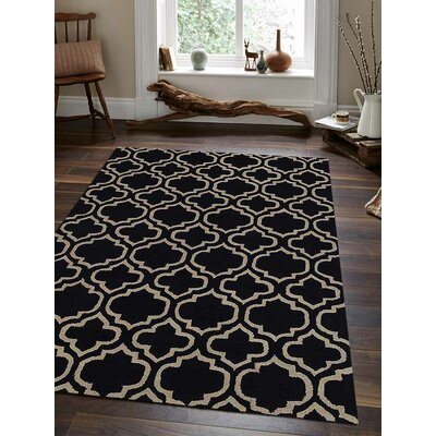 Hand-Tufted Black/White Area Rug Rug Size: Round 8