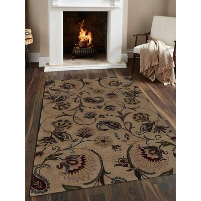 Hand-Tufted Beige Area Rug Rug Size: Square 6x6