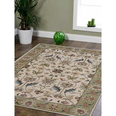Resnick Hand-Woven Beige/Green Area Rug Rug Size: Rectangle 5 x 8