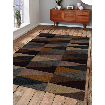 Glantz Hand-Woven Black/Brown/Beige Area Rug Rug Size: Rectangle 9 x 12