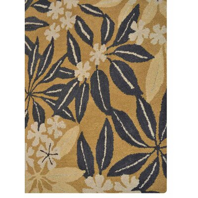 Hand-Tufted Gold Area Rug Rug Size: Rectangle 8 x 11