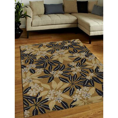 Hand-Tufted Gold Area Rug Rug Size: Round 8