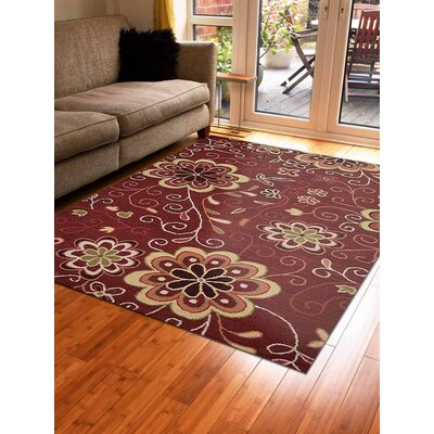 Hand-Tufted Red Area Rug Rug Size: 4 x 6