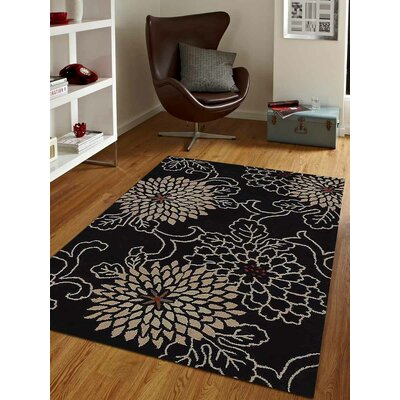 Kisner Hand-Woven Black Area Rug Rug Size: Rectangle 5 x 8
