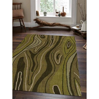 Hand-Tufted Green Area Rug Rug Size: Rectangle 9x12