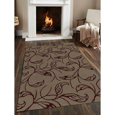 Hand-Tufted Beige/Red Area Rug Rug Size: Rectangle 9x12