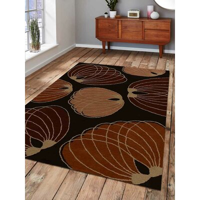 Hand-Tufted Brown Area Rug Rug Size: 9 x 12