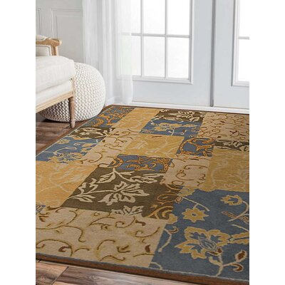 Ortiz-Vazquez Hand-Woven Gold Area Rug Rug Size: Rectangle 4 x 6