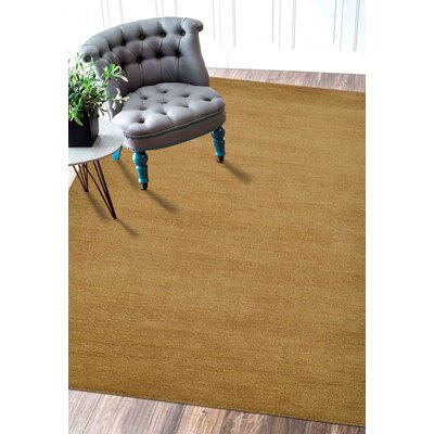 Ceniceros Solid Hand-Woven Wool Gold Area Rug Rug Size: Rectangle 5 x 8