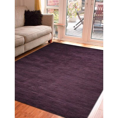 Delano Solid Hand-Woven Wool Purple Area Rug Rug Size: Rectangle 3 x 5