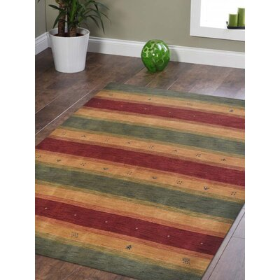 Avent Loom Hand-Woven Wool Red/Yellow/Green Area Rug Rug Size: Rectangle 9 x 12