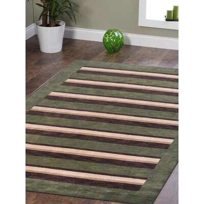 Komarek Hand-Woven Green/Brown Area Rug Rug Size: Rectangle 9 x 12