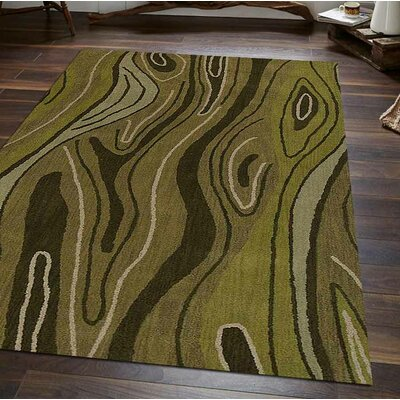 Hand-Tufted Green Area Rug Rug Size: Rectangle 4 x 6