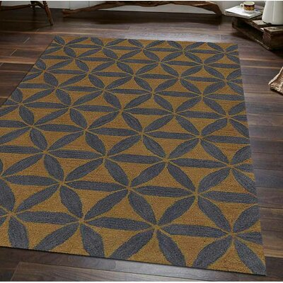 Hand-Tufted Gold/Blue Area Rug Rug Size: 4 x 6