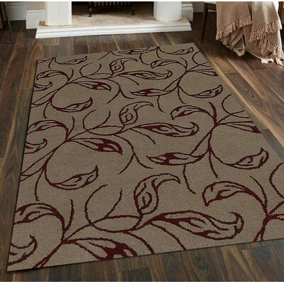 Hand-Tufted Beige/Red Area Rug Rug Size: 8 x 11