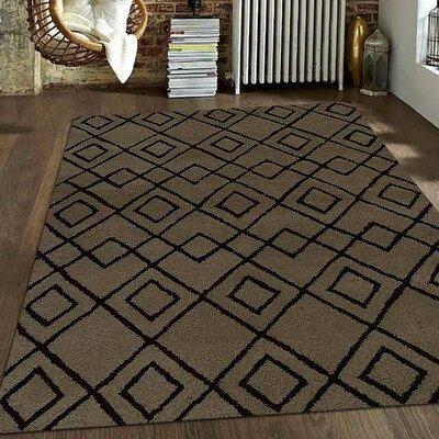 Hand-Tufted Beige/Brown Area Rug Rug Size: Round 8