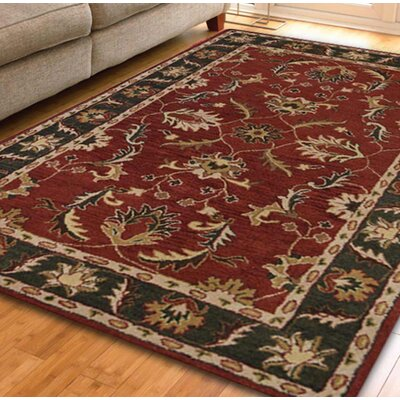Raffaele Hand-Woven Red/Green Area Rug Rug Size: Rectangle 3 x 5