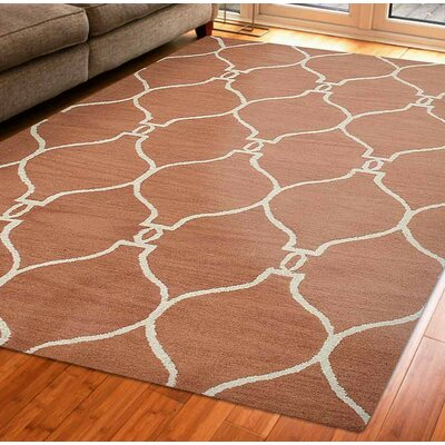 Hand-Tufted Red/Beige Area Rug Rug Size: Rectangle 5 x 8