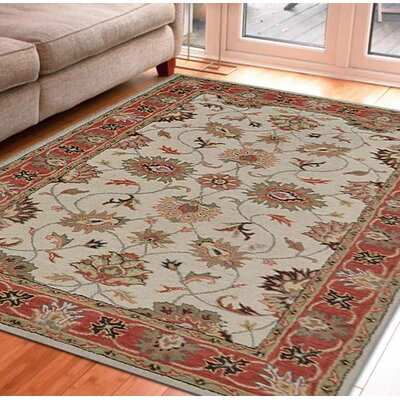 Hand-Tufted Beige/Red Area Rug Rug Size: Round 8