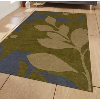 Hand-Tufted Green Area Rug Rug Size: Rectangle 8 x 11