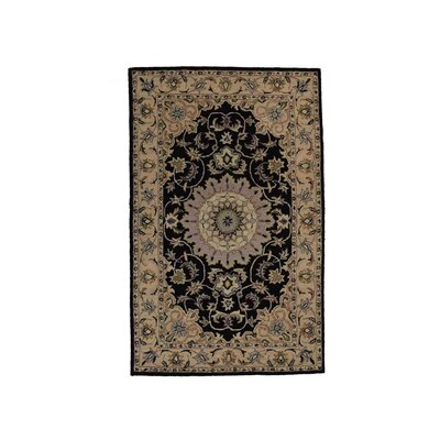 Hand-Tufted Black/Beige Area Rug Rug Size: 5 x 8