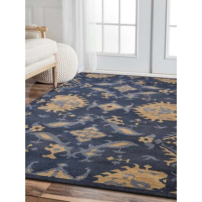 Hargrave Hand-Woven Blue/Beige Area Rug Rug Size: Rectangle 5 x 8
