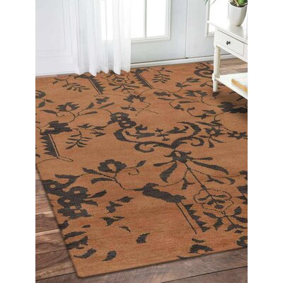 Rugsotic Hand-Knotted Beige Area Rug Rug Size: 9 x 6