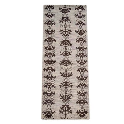 Rugsotic Hand-Knotted Black/Brown Area Rug Rug Size: Runner 10' x 2'6