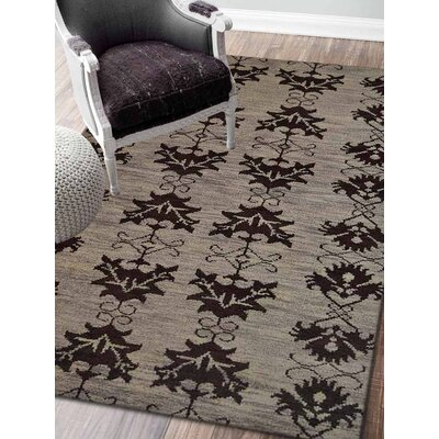 Rugsotic Hand-Knotted Black/Brown Area Rug Rug Size: 9 x 6