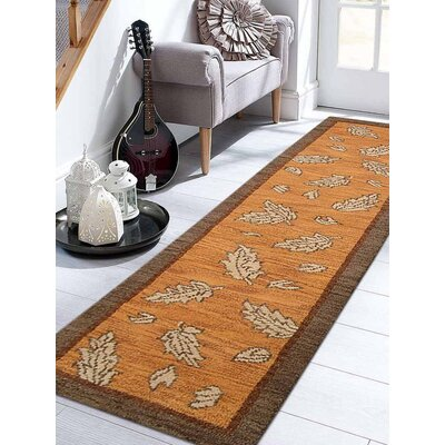 Rugsotic Hand-Knotted Gold/Brown Area Rug Rug Size: Rectangle 10 x 26